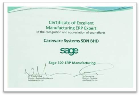 Sage Manufacturign ERP Expert Excellent Award